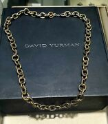 David Yurman Silver And Gold Linknecklace 20 Long 9.6mm Width