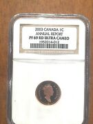 Near Flawless 2003 Canada Gold Plated 1cent Pf69 Ultra Cameo From Rcm Report.