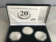 Us Mint 20th Anniversary American Eagle Silver 3-coin Set With Box And Coa