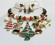 Vintage Bells Necklace 3 X Earrings Betsey Johnson Christmas Trees One Of A Kind