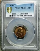 1925-d Lincoln Cent Wheat Penny --- Pcgs Ms-64+ Red Slabbed ---- 827