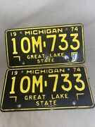 Rare Michigan 1974 License Plates Manufacturer Plate Very Good Condition
