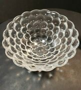Orrefors Crystal Raspberry Bowl Bubble Glass 8 1/4 Signed, Tagged Heavyweight