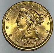 1881-s Liberty Head Half Eagle 5.00 Gold Coin