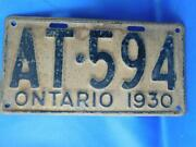 Ontario License Plate 1930 At 594 Early 3 Digit Low Tag Rare Car Shop Sign
