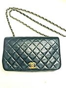 Authentic 1980 Quilted Cc Full Flap Chain Shoulder Bag Navy Leather