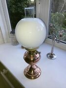 Antique Victorian Oil Lamp,shade And Glass Chimney Double Burner With Wicks