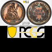 1866 Pcgs Pr64 Mintage 8000 + 725 Proof = 3rd Lowest 10c 🔴 2595 Seated Dime
