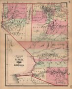 J. H. Colton's Map Of Nevada, Utah And Arizona 1864 Old Antique Plan Chart