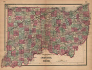 J. H. Colton's Map Of Indiana And Ohio 1864 Old Antique Vintage Plan Chart