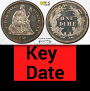 1866 Pcgs Pr64 Cameo 8000 Minted + 725 Proof 3rd Lowest 10c ✅ Rare Seated Dime