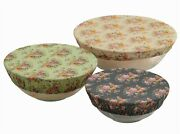 Victorian Trading Co Rosy Cotton Bowl Covers Set Of 3