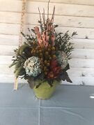 Nwt Pottery Barn Hydrangea Floral Arrangement French Green Vase 598.00 Sold Out