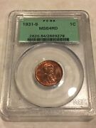 1931-s Pcgs Ms64rd 1c Lincoln Cent Wheat Penny Red Pq Great Appeal Ogh