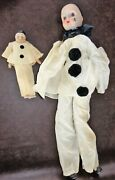 2 Old Vintage Soft Body Clown Dolls With Porcelain Heads 1 Has Wind Up Music Box