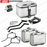 Set Givi Bauletto Dlm46a And Suitcases Dlm30a Motorcycle Moto Guzzi V7 Iii Stone/