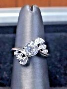 Antique 14k White Gold And 1cttw Euro Cut Diamond Ring Si-1 .9ct Center Stone