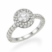 1 2/3 Ct Diamond Engagement Ring Round Cut D/si1 14k White Gold Size 6