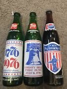 Vintage Full Acl 16 Oz 7up And Pepsi Bottle Liberty Bell 1776-1976 Bicentennial
