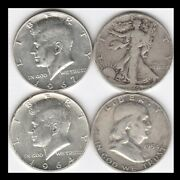 Four Different Silver Half Dollars 1945 1954 1964 And 1967 See Scans