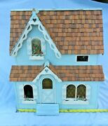 Vintage Wooden Doll House Including Furniture 20 Across. See Pictures