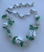 Signed W Germany Poured Glass Flower Leaf Wire Choker Necklace Deco Art 1930andrsquos