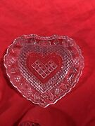 Vintage Pressed Glass Heart Shaped Candy Serving Dish Trinkets Bowl