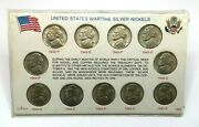 1942-1945 Wartime Silver Nickle Set 11 In Holder Choice Bu Us Coins