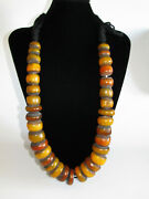 African Vintage Ethnic Jewelry Berber Resin Trade Beads Necklace From