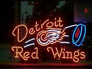 New Detroit Red Wings Neon Light Sign 24x20 Lamp Poster Real Glass Beer Bar