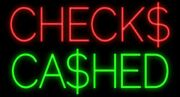 New Checks Cashed Us Dollar Beer Man Cave Neon Light Sign 32x24