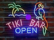 New Tiki Bar Open Parrot Palm Tree Real Glass Neon Sign 32x24 Beer Lamp Light