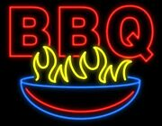 New Bbq Barbeque Grill Beer Man Cave Neon Light Sign 32x24