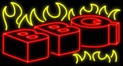 New Bbq Barbeque Flames Beer Man Cave Neon Light Sign 32x24