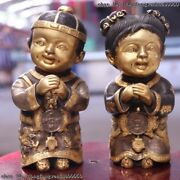 Chinese Bronze Copper Gold Gilt Blessing Happy Boy And Girl Bat Statue Pair