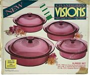 New Visions Cranberry 8 Piece Covered Round Casserole Set Corning Usa Open Box