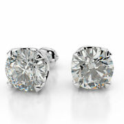 Diamond Stud Earrings 1 1/2 Ct Round Cut F/si1 14k White Gold Natural