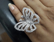 Butterfly Shape White Round Cut Party Wear Pure 925 Sterling Silver Women Ring