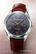Baume & Mercier Clifton Dual Time Moa10111 Watch Used Menand039s Auto Gray Brown