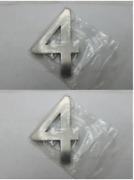 Taymor Solid Brass Modern Style House Number 4 Satin Nickel 27-pmsn44 - 2-pack
