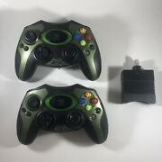 Lot Of 2 Hip Gear Wireless Lm576 Original Xbox Controllers W/ One Receiver Read
