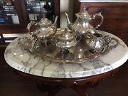 Reed And Barton Georgian Rose Sterling Coffee And Tea Service With Tray