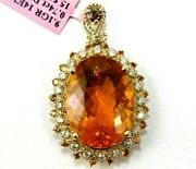 Natural Oval Mexican Fire Opal And Diamond Halo Pendant 14k Yellow Gold 16.29ct