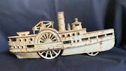 Antique Cast Iron Paddlewheel Steam Ship Toy 100 Original Wow