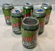 6 Empty Mountain Dew Pitch Black Ii Collector Soda Cans
