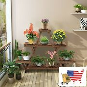 Plant Stands Wooden Plant Stand With Wheels Pots Holder Display Shelf Plant Stan