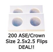 200 2.5x2.5 Large Coin Flips Crown Size Mylar Holders For American Silver Eagle