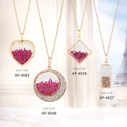Solid Yellow Rose White Gold Natural Diamond , Ruby Crystal Shaker Pendant