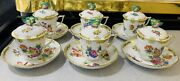 Herend Queen Victoria Vbo 6 X Lidded Cups With Butterfly Handles And 6x Saucers