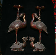 25.6 Old China Red Bronze Dynasty Dragon Turtle Crane Birds Candle Holder Pair